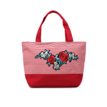 HUER Sheila Stripes Patches Large Tote Bag - Red