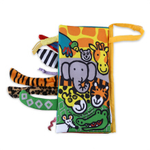 JOLLYBABY 10 Pages Funny Cartoon Animal Character Educational Cloth Book-JUNGLY TAILS