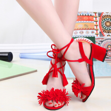 Toe Fashion Summer Tessel Suede Sandals Square Sexy Shoes