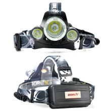 BORUiT RJ-3000 Plus XM-L 3 T6 Upgraded White light 3 LED 4 Modes Micro USB Rechargeable Headlamp