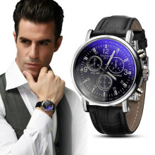 BESSKY Luxury Fashion Crocodile Faux Leather Mens Analog Watch Watches New- Black