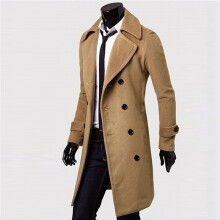 BESSKY Winter Men Slim Stylish Trench Coat Double Breasted Long Jacket Parka-