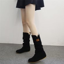 BESSKY Woman knee High Boots Flat Heel Nubuck Motorcycle Boot Autumn Winter Shoes -