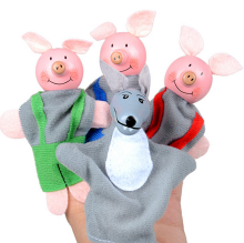 BESSKY 4PCS Three Little Pigs And Wolf Finger Puppets Hand Puppets Christmas Gifts - Gray