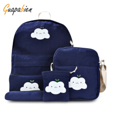 Guapabien 5pcs Canvas Printed Cute School Backpack Girls Bag Dark Blue