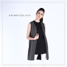 Rianty Basic Atasan Wanita Vest Jordin - Dark Gray Dark Grey All Size