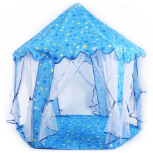 Kids Portable Princess Castle Play Tent Activity Fairy House Toy Gift(blue)
