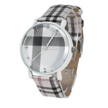 Fashion Plaid Leatheroid Watch Women Men's Sport Casual Quartz Wristwatch