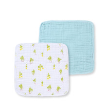 PurCotton 2017 New Six Layer Gauze Towel 34x35cm Green Leaf+Blue Lake 2 piece
