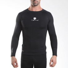 Tiento Baselayer Manset Rashguard Compression Long Sleeve Black Baju Kaos Ketat Olahraga