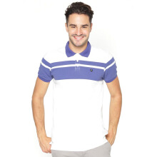 FAMO Bold Striped Polo Shirt - White