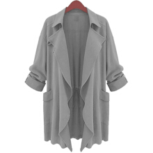 ZANZEA Women's Collar Cardigan Slim Long Windbreaker Jacket Coat - Army Green