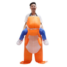 Adult Inflatable Costume Dinosaur Suit Blowup Halloween Dragon Ride Outfit Fun - Orange