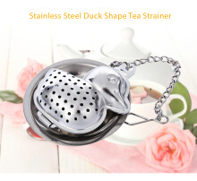 Stainless Steel Duck Shape Tea Infuser Reusable Strainer Filter with Tray Chain