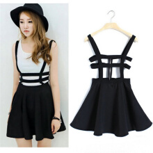 Women Pleated Suspender Skirt Braces Hollow Out Bandage Mini Skater dress