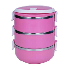 STARHOME Rantang 3 Susun - Kotak Makan Stainless Steel - Lunch Box 2100 ml Glossy Pink - HL-KW-CONT-RT3-V2-P