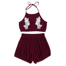 Halter Lace Floral Crop Top and Shorts