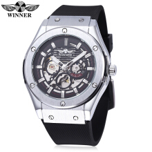 WINNER W2016060202 Men Auto Mechanical Watch Luminous Pointer Nail Scale Rubber Band Wristwatch