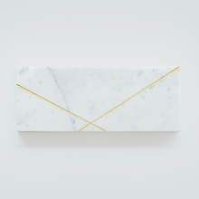 GLERRY HOME DÉCOR Rectangle Golden White Marble - 25x10Cm