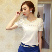 BESSKY 1PC Lady Women Lace Short Sleeve Shirt V Neck Doll Chiffon Blouse Tops_