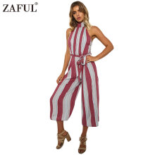 Women Wide Leg Jumpsuit Sexy Vertical Stripe Backless Rompers