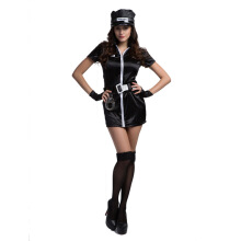 Halloween Black Sexy Polyester Cop Costume For Woman