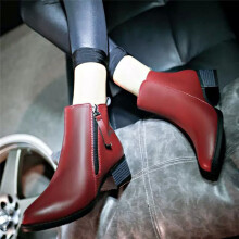BESSKY Women Shoes Vintage Fashion Ankle Boots Women Boots Side Zipper Shoes_