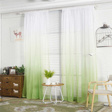 BESSKY Gradient Sheer Curtain Tulle Window Treatment Voile Drape Valance 1 Panel Fabric_ Multicolor