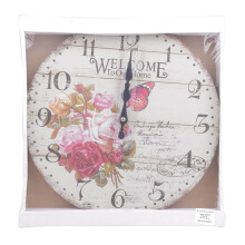 BLOOM & BLOSSOM Wall Clock - Flower & Red Buttlerfly