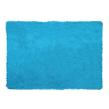 GLERRY HOME DÉCOR Square Blue Mint Fur Rug - 150x100Cm