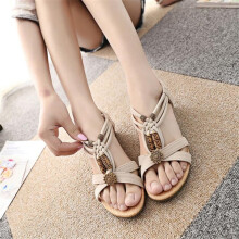 BESSKY  Women's Casual Peep-toe Flat Buckle Shoes Roman Summer Sandals _
