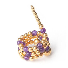 PAULA MENDOZA Triple Adriane Mix Ring  - Puple/ Gold