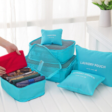 6 PCS Travel Waterproof Storage Bag Large Capacity Folding Bag Storage Container - Light Blue