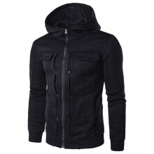 BESSKY Men's Autumn Winter Fashion Men Slim Designed Hooded Top Cardigan Coat Jacket  _