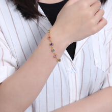 Colorful Rhinestone Arc Plated Bracelet for Women
