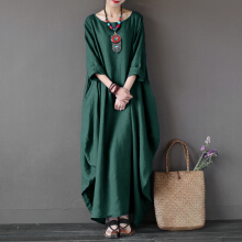 ZANZEA Women Vintage Women Solid 3/4 Sleeve Loose Robe Dress