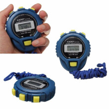 BESSKY LCD Chronograph Digital Timer Stopwatch Sport Counter Odometer Watch Alarm- Blue