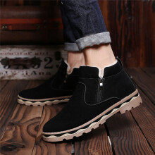 BESSKY Men Winter Leather Warm Snow Cool Sneakers England Zip Shoes Ankle Boots _
