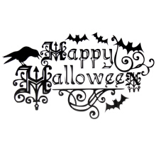 English Happy Halloween Black Removable Bedroom Decal Home Decor Wall Sticker