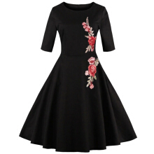 ZAFUL Fashion Vintage Dress Women Retro Style Applique Embroidery Dress