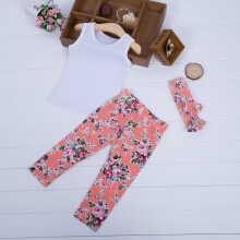 3pcs Cute Girls Vest Trousers with Headband Sleeveless Round Collar