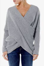 Women 's Cross Front Irregular Hem Jumper -  Grey