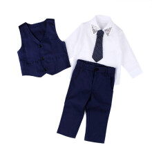 BESSKY Baby Boys Gentleman Wedding Suits Shirts+Waistcoat+Long Pants+Tie Clothes 1Set_