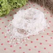 Women Lace Sheer Floral Print Triangle Veil Scarf Shawl Wrap Tassel