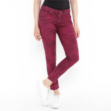 Mobile Power C2859S Ladies Slim Fit Jeans Motif - Red Maroon