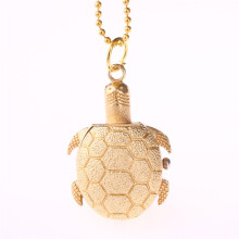 BESSKY Turtle Shape Unisex Antique Case Vintage Brass Rib Chain Quartz Pocket Watch _ Gold