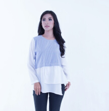 Rianty Basic Atasan Wanita Blouse Ellenor - Blue Light Blue All Size
