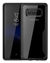 Keymao Samsung Galaxy Note 8 with Clear Hard Casing and Reinforced Hard Bumper Frame Black