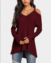 Women Cold Shoulder Long Sleeves Knitted Top