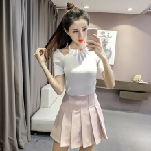 Strapless short sleeved summer slim knit shirt woman sexy tight T-shirt thin coat